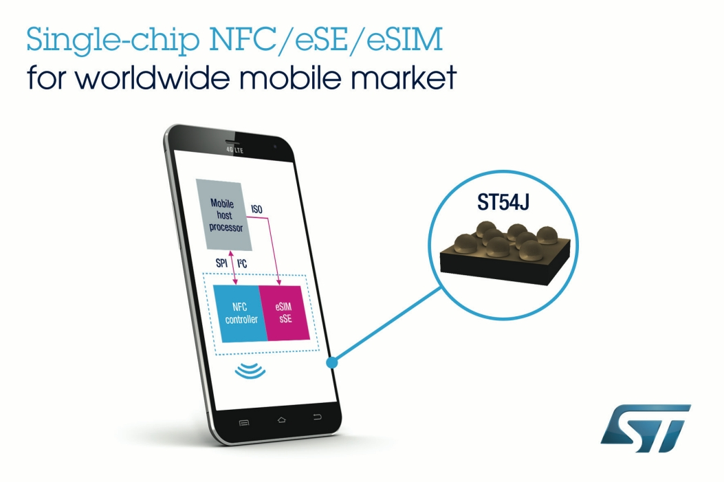 ST54J single-chip combining NCF / eSE / eSIM