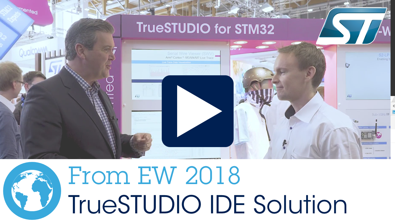 <p>TrueStudio full features IDE solution for STM32 products (now free of charge!), Embedded World 2018</p> <p> </p>