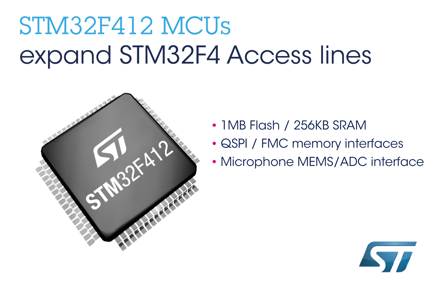 STMicroelectronics Enhances Access Lines of STM32F4 High-Performance
