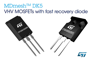 STMicroelectronics' New MDmesh™ MOSFETs with Fast-Recovery Diode Enhance Power Density of High-Efficiency Converters