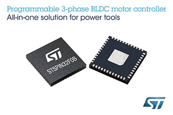 STSPIN32 Single-Shunt BLDC Motor Controller from STMicroelectronics Saves Space, Time, and Bill of Materials