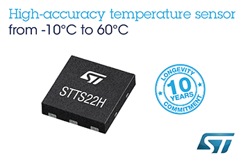 Temperature Sensor Accurate to 0.25°C, from STMicroelectronics, Delivers Flexible Power Savings for Mobile Monitoring