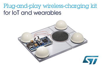 Plug-and-Play Wireless-Charging Kit from STMicroelectronics Creates Ultra-Compact Chargers for Wearables and IoT Devices