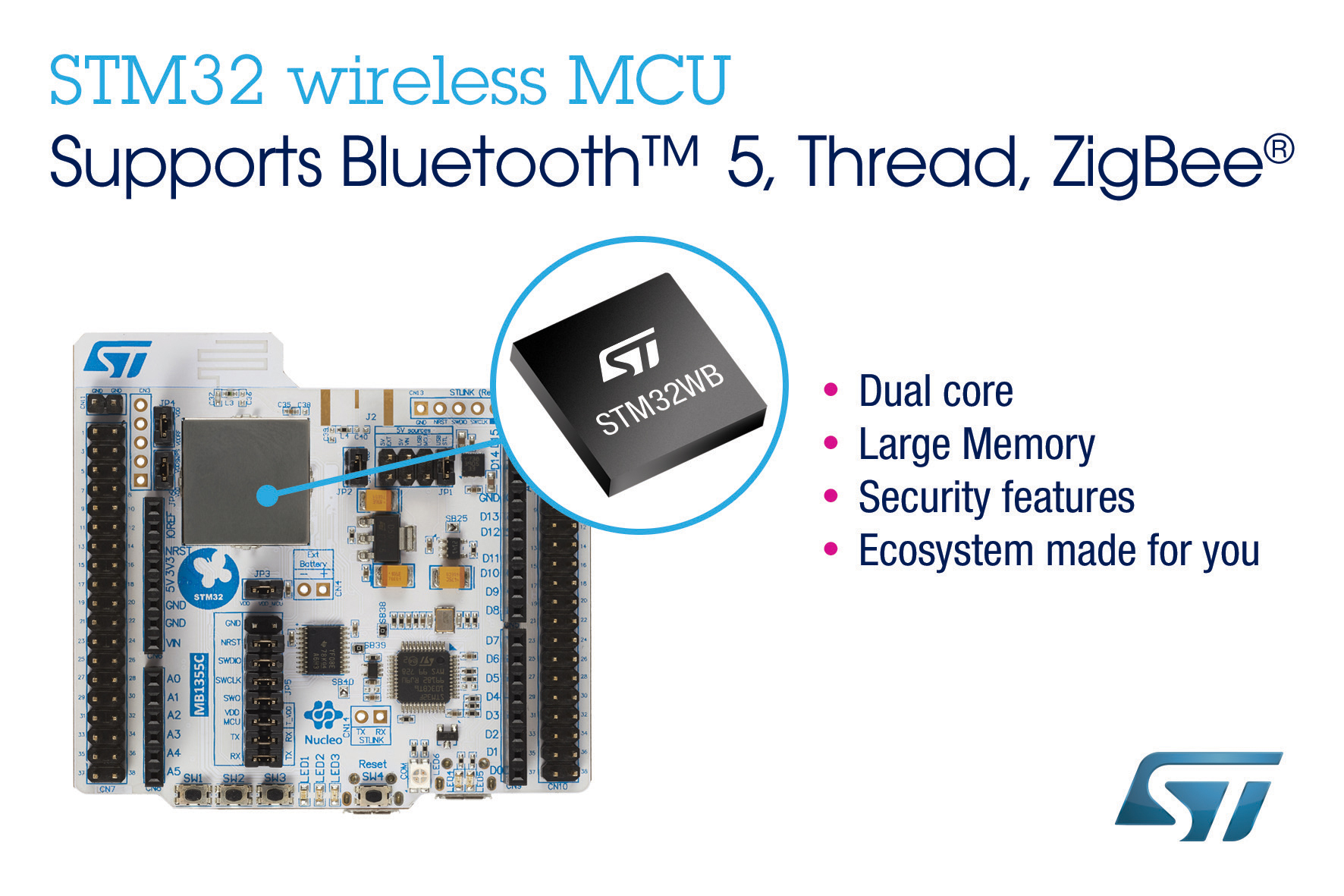 New STM32WB Dual-Core Wireless MCUs from STMicroelectronics