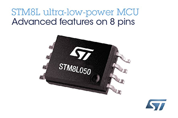 STMicroelectronics' STM8L050 Extends Choice and Freedom in 8-bit Microcontrollers, with Rich Analog and DMA in Low-Cost 8-pin Package