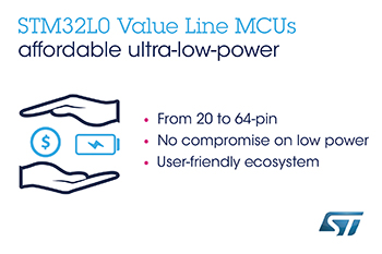 STMicroelectronics Makes Leading Ultra-Low-Power MCU Family Even More Accessible with New STM32L0 Value Line