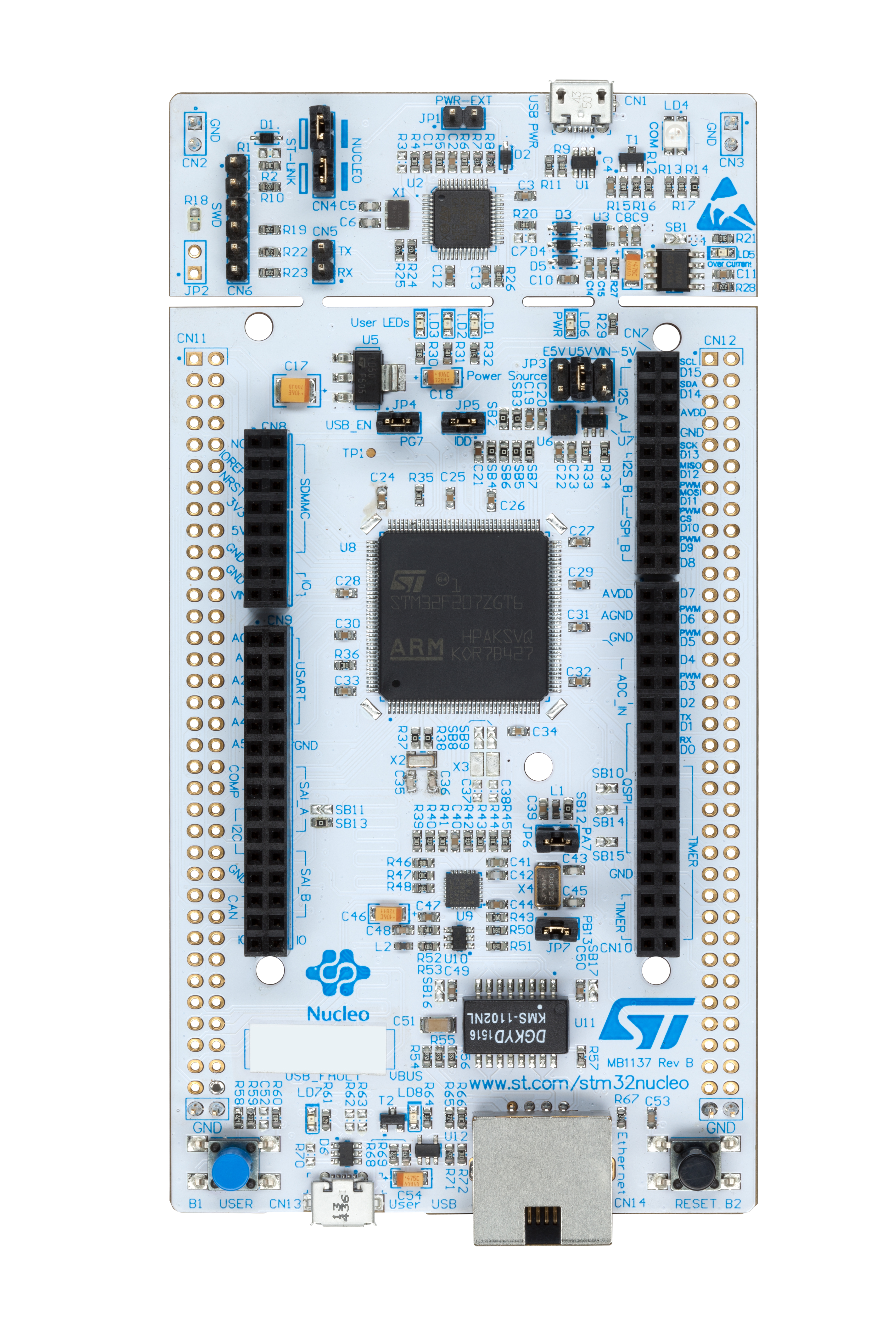Nucleo-144 board photo with mbed logo