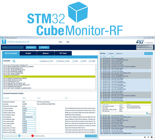STM32CubeMonRF tools screen capture