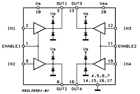 l293d - push-pull four channel drivers with diodes ... e passport circuit diagram